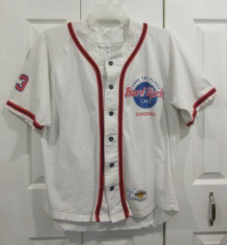 Hard Rock Cafe Chicago Baseball Button Down Shirt Size L