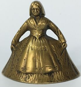 Vintage bell YPRES Belgium small lady brass Antique