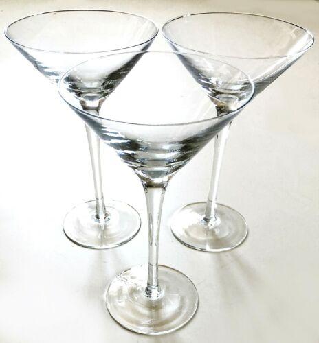 """3 Martini Glasses- Crate and Barrel- 7 1/2""""- 6 oz- Delicate Rim"""