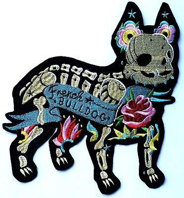 XL French Bulldog Skeleton Embroidered Patch Iron On Jacket Sugar Skull Rose - Bulldog Skeleton
