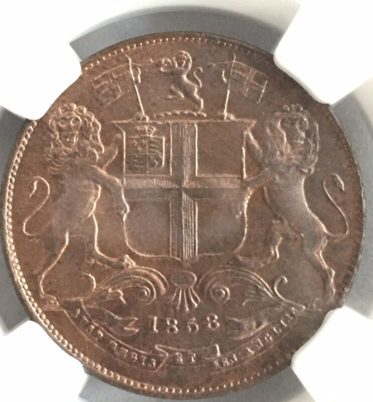 British India 1858 1/4 Anna NGC MS 64 RB GEM