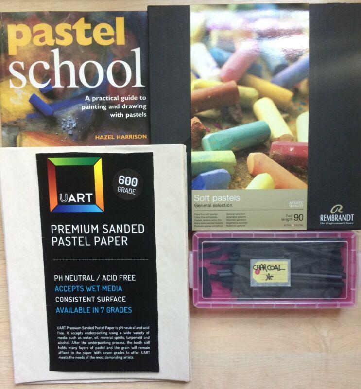 Lot of Rembrandt 90 Half-Length Soft Pastels, UArt Sanded Paper, Book & Charcoal