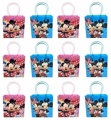 Disney Mickey and Minnie Goody Bag Party Goodie Gift Birthday Candy Bags 12pc - Minnie And Mickey Party Supplies