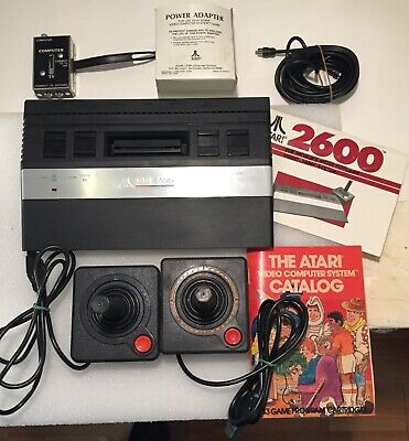 ATARI 2600 Video Game System CONSOLE 2 Controllers MANUAL Cables/Adaptor in BOX