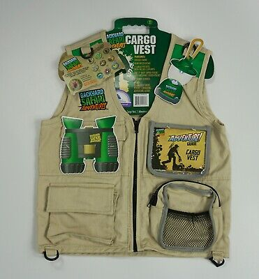 Kids Backyard Safari Adventures Cargo Vest New With Tags For Children 6 -12