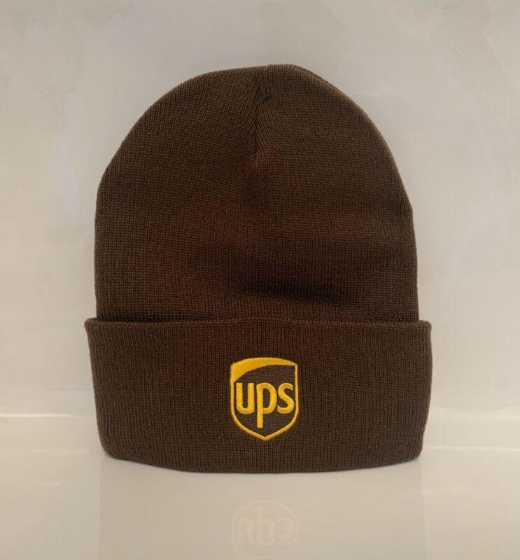 Custom UPS Beanie Embroidery Cuffed Knit Brown