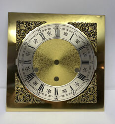 """Vintage Hermle Triple Chime Mantel Wall Clock Brass Dial NOS 7-7/8"""" X 7-7/8"""""""