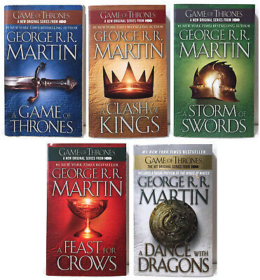 A GAME OF THRONES by George R.R. Martin Lot Set 1-5 paperback DRAGONS SWORDS