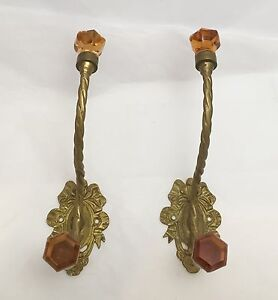 2 antique french brass with glass knobs coat towel robe hook beautiful detail brass coat hook pieces
