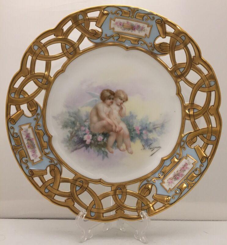"""French Paris Sevres Reticulated Porcelain Portrait Plate Signed A. Faugeron 9"""""""