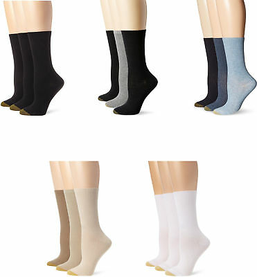 Gold Toe Women's Premium Cotton Non Binding Crew Socks, Assorted Colors, 3 Pairs