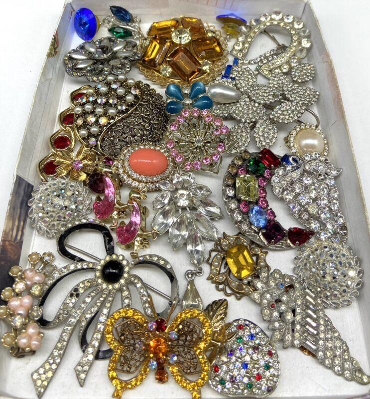 VINTAGE Broken Costume Jewelry Rhinestone Repair Lot Harvest Embellishments Art