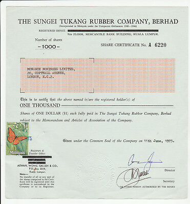 Sungei Tukang Rubber Company 1000 Share Certificate 1973 stamp