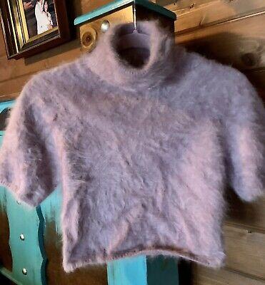 Vintage Jean Paul Gaultier Lavender Cropped Turtleneck Angora Sweater, XS