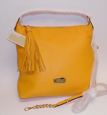 NEW MICHAEL KORS BEDFORD YELLOW LEATHER,GOLD TASSEL,HOBO,CROSS BODY,SHOULDER BAG