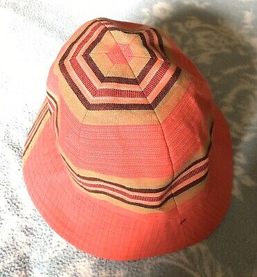 Ladies Vintage Hat 60s 70s Possibly Unworn Red Stripes
