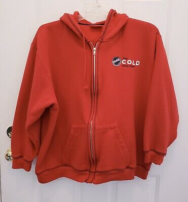 Coca Cola Brand Sweatshirt Plus Size 26W/28W Red Hoodie w/Pockets 'Ice Cold'