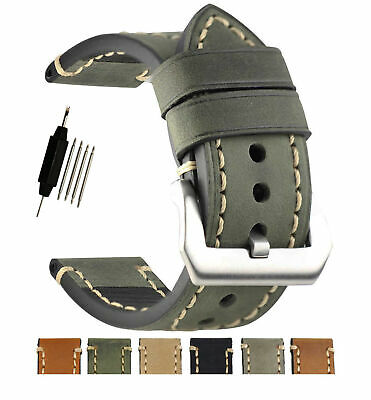 ZLIMSN Replacement Leather Wrist Watch Band Watch Strap Belt 20mm 22mm 24mm (24 Mm Watch Straps)