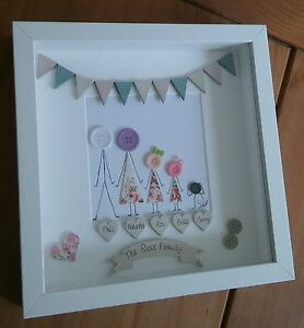 Personalised button family picture in deep box frame.  Ideal gift.