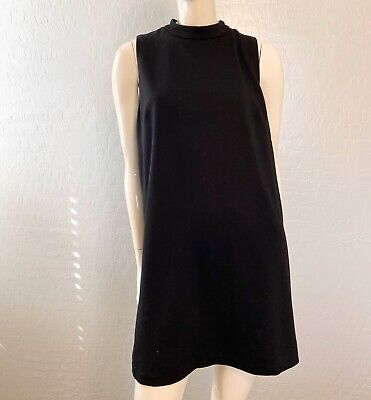 H&M Basic women's size Large Black Shift Dress Mock Neckline Sleeveless Zipper