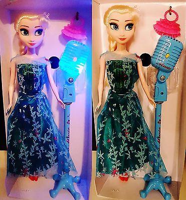 Frozen Elsa Eiskönigin /optik/ Puppe 30cm mit Mikrofon Musik u. Licht  +Täschen