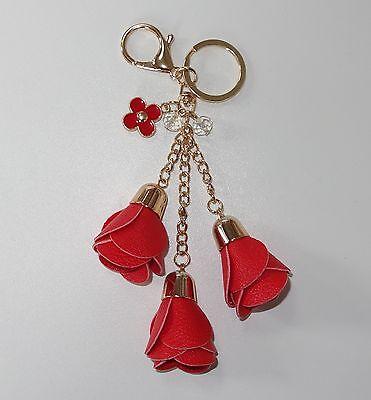S015 - Taschenanhänger - NEU - Rot Rosen Rose Blume Gold Charm Damen Blume Girl