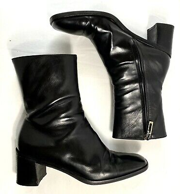 Vintage GUCCI Black Leather Ankle Boots Square Toe Size 8 B