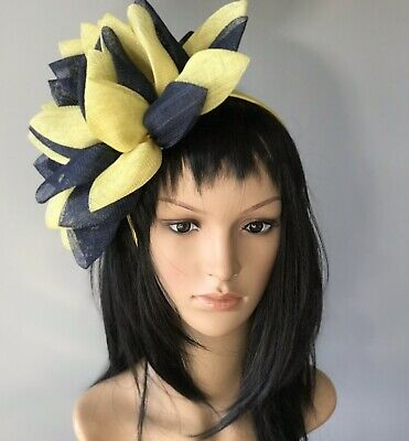STUNNING BRAND NEW NAVY AND YELLOW FASCINATOR ASCOT Wedding Occasion formal Hat](Navy And Yellow Wedding)