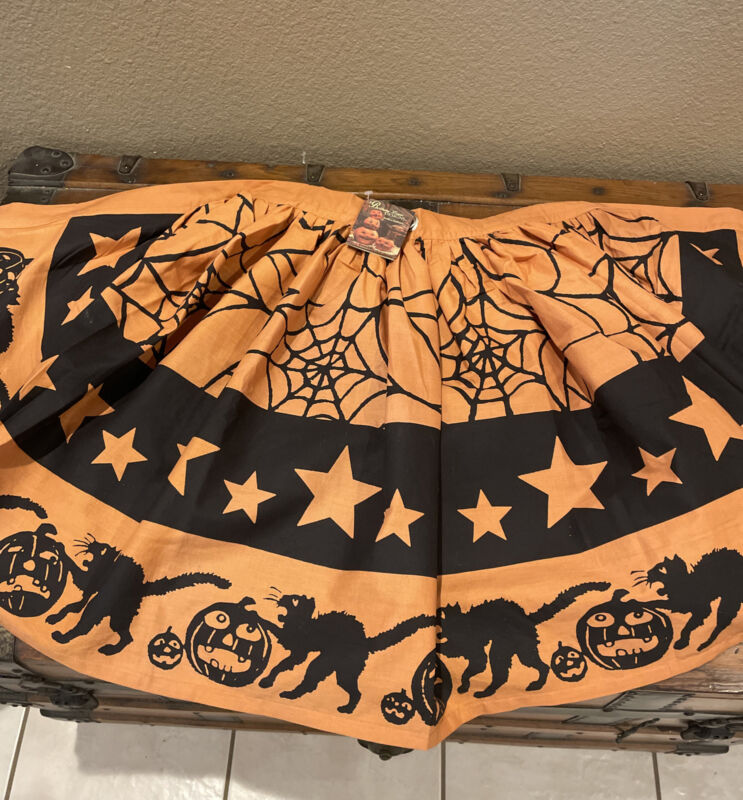 Bethany Lowe Halloween Bunting Banner Black Cats Spider Webs Stars—Retired