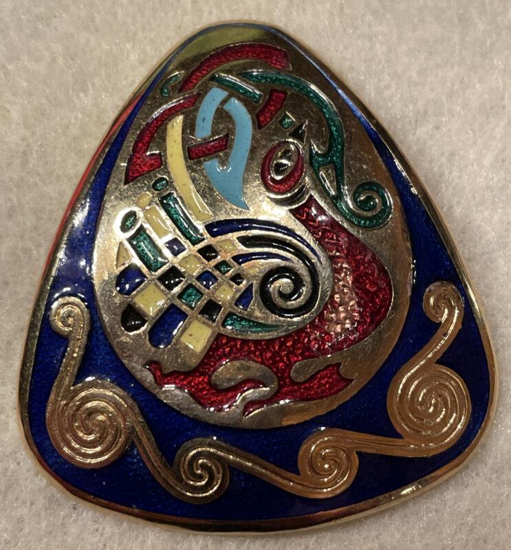Vintage Irish Tara Ware Celtic Enamel Ireland Shield Brooch Pin Guilloche