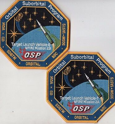 Orig USAF VAFB OSP Minotaur NFIRE-2A & B, TLV-7 & 8 Mission Launch Patch - 2pcs
