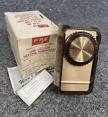 Vintage Fpe Line Voltage Heating Thermostat Model Hpt-1 Vertical Wall Mount
