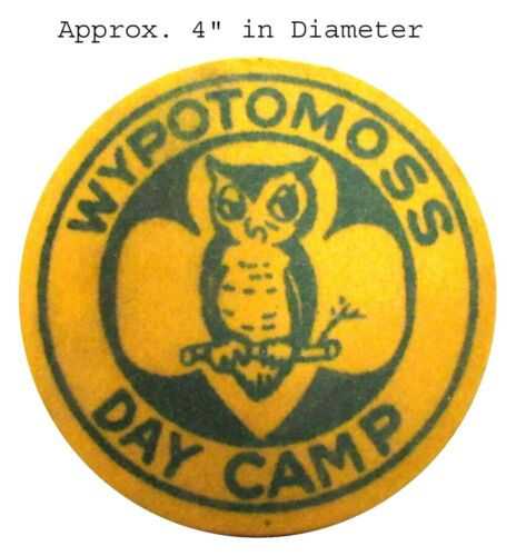 WYPOTOMOSS CAMP Patch - Towanda PA, OFFICIAL Girl Scouts Gold FELT w/Canvas Back