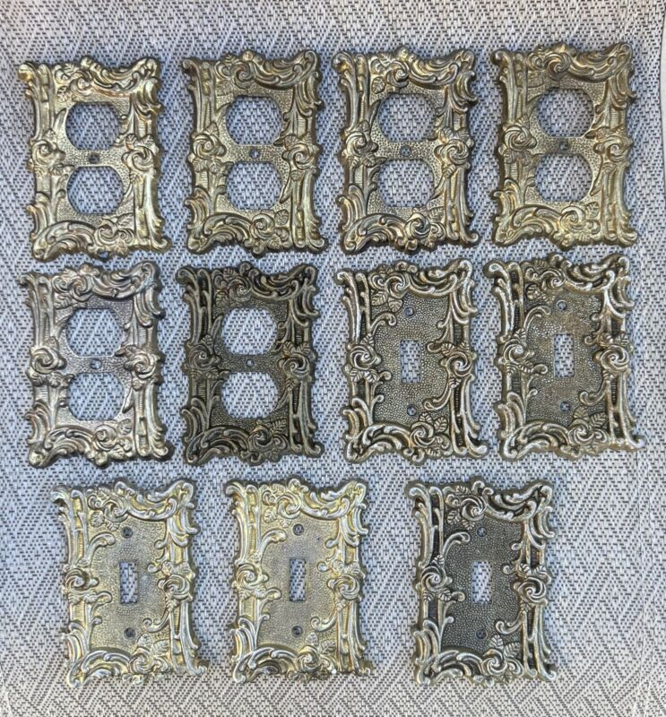 11 Vintage Brass Switch Plates Outlet Covers Roses Floral Ornate AT & HC Co