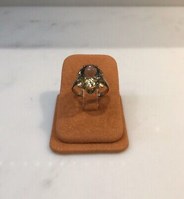 Vintage Gold Plated Silver Smokey Quarts Ring
