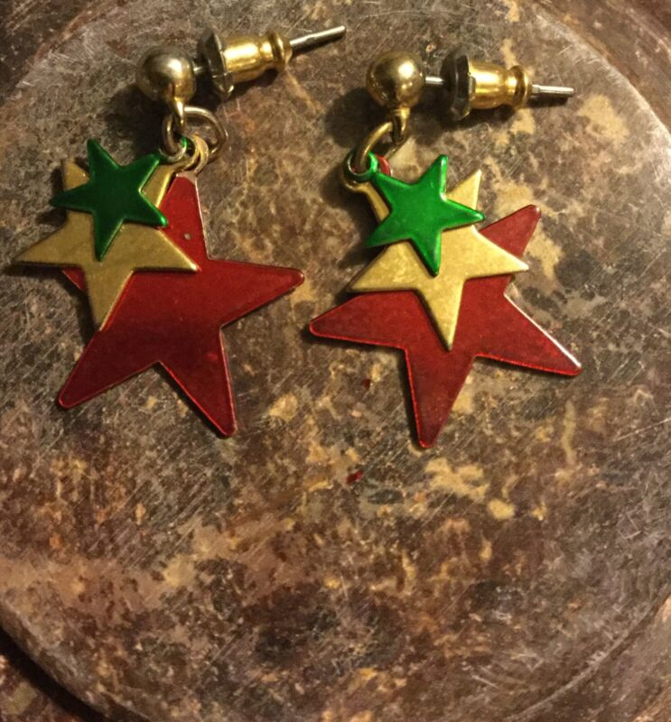 Vintage Metal Red Yellow & Green Star Design Dangle Pierced Earrings