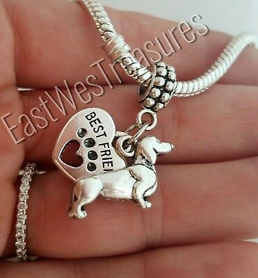 Wiener dachshund dog Charm pendant for Bracelet necklace-European-jewelry gifts ()