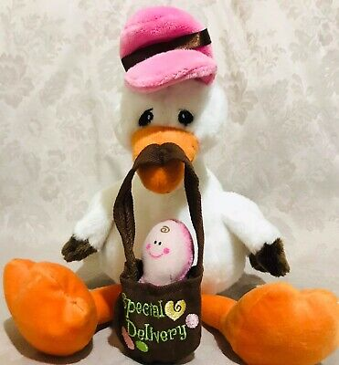 The Petting Zoo Plush Special Delivery Stork With Baby Pink (Special Delivery Stork)