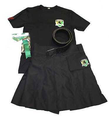 TILTED KILT MEN'S UNIFORM SHIRT, BLACK KILT,BELT & GREEN FLASHING SMALL S OUTFIT](Black Flash Costume)