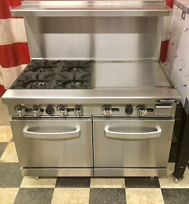 """48"""" Range With Griddle 24"""" 4 Burners 2 Full Double Size Standard Ovens Commer"""