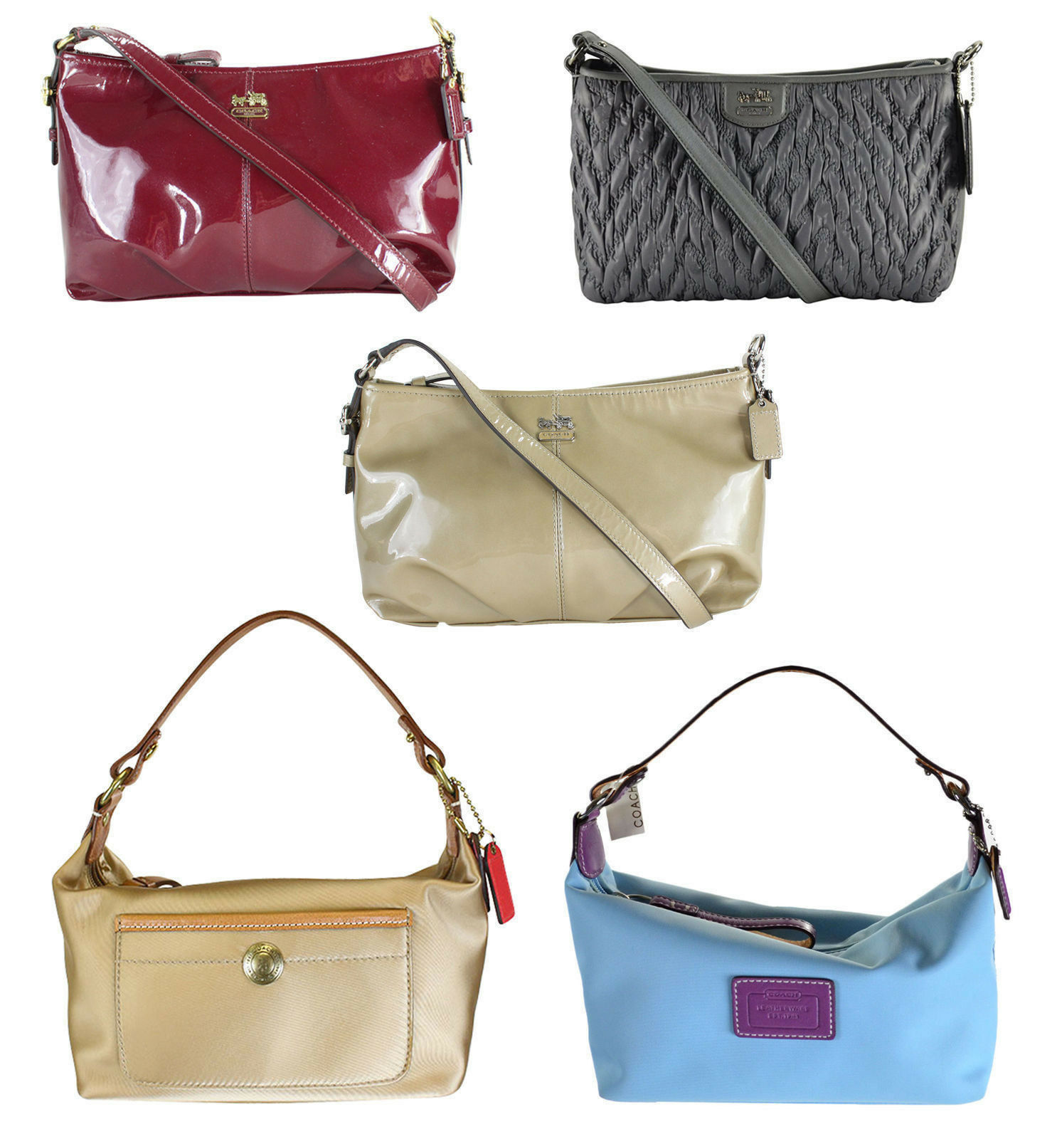 New Coach Madison Patent Leather//Nylon Pouch Handbag 46619 8370