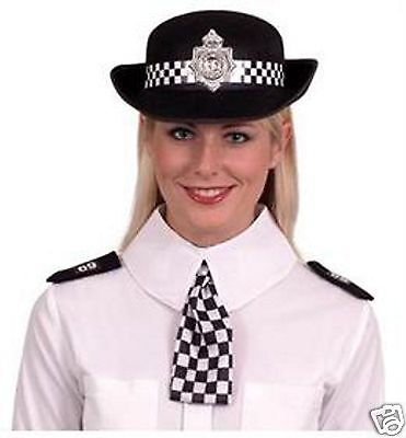 Police Woman Costume Cop WPC HAT COLLAR & EPAULETES Fancy Dress Costume Set