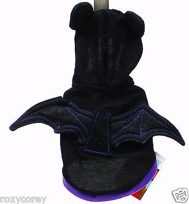 Halloween Martha Stewart Black Purple Winged Sparkly Bat Pet Dog Hoodie XSmall (Martha Stewart Hoodie Halloween Costumes)