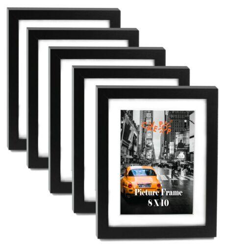 "Cavepop 8x10"" Black Wood Textured Picture Frames - Set of 5"