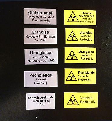 10 Aufkleber Glühstrumpf Uranglas Americium Pechblende Prüfstrahler Geigerzähler