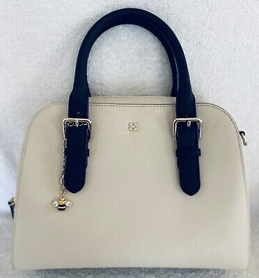 Medium Kate Spade Cream (of white) and Black Saffiano Leather Satchel Purse