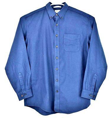 LL Bean Traditional Fit Chamois Cloth Navy Blue Fleece Button Up Shirt L Tall