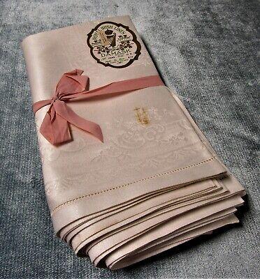 Antique 8 Royal Irish Linen Damask Napkins Scrollwork Florals Hemstitched Unused Imperial Damask Antique