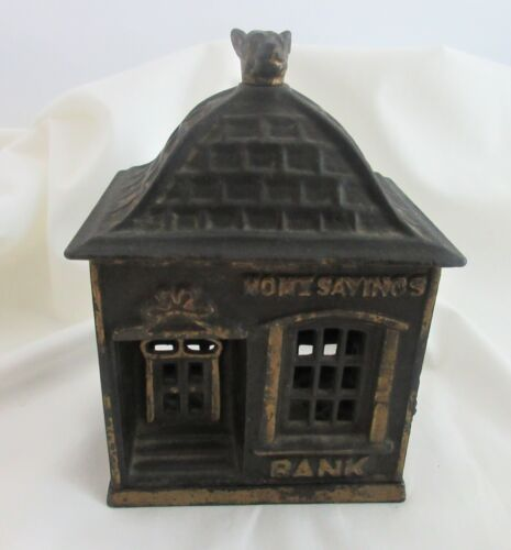 Antique Cast Iron Bank,HOME SAVINGS BANK,VERY NICE CONDITION WORKS GREAT! MMH