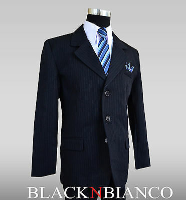 Suit For Kids (Boys Dark Navy Pinstripe Suit for kids of all ages Size 2T through 20)